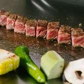 臨場感溢れるカウンターでいただく美食『極上黒毛和牛のステーキ』