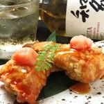 新鮮な鰯の中から、溢れるめんたいこ。 福岡の酒蔵さんの日本酒と一緒にどうぞ。
