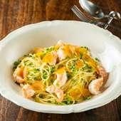 白ワインとの相性抜群! 贅沢な『イタリア産カラスミと海老と観音ネギのオリーブオイルスパゲッティ』
