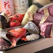 素材はもちろん、調理法も選択OK。旬の野菜、新鮮な魚、希少な肉まで一通り揃った『新鮮食材トレー』