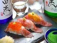 肉の旨みと贅沢な海の幸を満喫『炙り肉寿司3種盛り合せ』