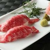 幻の牛を贅沢に食す『宮崎尾崎牛のあぶり寿司』