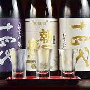 日本酒のラインナップも充実していて、地元山形のプレミア銘酒で入手困難となっている『十四代』も。時期によって変わる3種を飲み比べできる『十四代飲み比べ』も、プレミアをつけない適正価格で提供されています。
