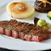 「葉山牛」のサーロインの中でも、繊細なサシが入っている部位だけを贅沢に『葉山牛のサーロインステーキ』