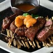 やわらかく肉の風味がしっかり感じられる赤身と、ウニペーストのコラボが絶妙『ももステーキのうにソース』