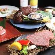 前菜から始まり、天然にこだわる高級魚介、さらに黒毛和牛シャトーブリアンがセットになっています。控えめな価格で、納得のおいしさを堪能。 ※料理は一例。仕入れや季節によって、内容が変わる場合がございます。