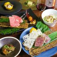 自慢の黒毛和牛はもちろん、南房総産の海の幸、お米や野菜も千葉県産にこだわったスタンダードコース
