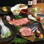 黒毛和牛モモステーキをメインに旬の食材を使用したランチ限定コースです。フルコースをリーズナブルに!!