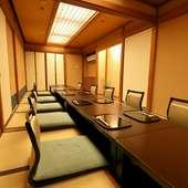 落ち着いた数奇屋造りの個室を9部屋完備しています
