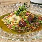 2種類のソースでその相乗効果を味わう、彩り豊かな一皿『季節のカルパッチョ』