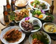 当店人気のアジアン料理含むボリュームたっぷり全9品! +2000円で海外のビールなども飲み放題になります。
