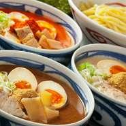 濃厚だし・濃厚魚介豚骨スープ 麻辣・濃厚スープに花椒の刺激 黒マー油・濃厚スープに焦がしにんにく
