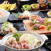 蟹と海鮮のフルコース。晴れの日の宴や接待、お祝い事など広くお使いいただけるコース仕立てです。