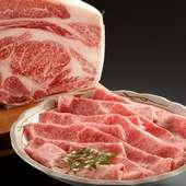 旬野菜と飛騨牛ロースを主役に、前菜、お造り三種盛りが付いた全7品の満足しゃぶしゃぶです。