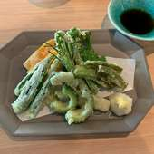 島野菜をふんだんに使った天ぷらはぜひ【雪塩】で♪