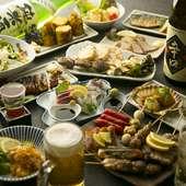 赤字覚悟の食べ飲み放題コース。料理は70種以上、ドリンク40種以上から選べるコースは常連さんにも大好評!