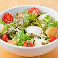 その日仕入れる鮮度抜群の野菜を使用したサラダ。店主が目利きした自信のある食材のみを使用します。