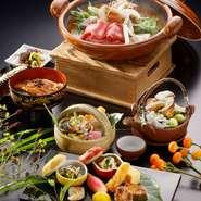 季節の食材を使用した京懐石コースでございます。 最後のお食事にはみのきち名物の「うなぎ御飯」が入った特別懐石コースでございます。