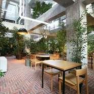 居心地の良さが追及された店内。至る所に緑が配置され、ゲストを優しく迎えてくれます。カウンター席、テーブル席、ソファ席と計63席が用意されたくつろぎの空間で、思いおもいのひとときを過ごしてみませんか。