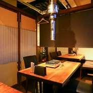 周囲を気にすることなく過ごせる半個室は、1名から利用可能。おこもり感溢れる空間で焼肉を堪能する、ワンランク上のひとときが叶います。希望する場合は予約時に申し出を。