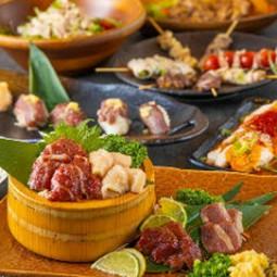 馬肉寿司と串焼きが食べ放題の宴会コース。最大3時間飲放題も付いておりますので各種宴会におすすめです。
