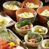 平日限定のお得な宴会コース。前菜から甘味まで充実したお料理に3時間飲み放題が付いたお得な内容です。