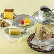 甘味:本日の和菓子・本日の水菓子・アイスクリームより5種 おのみもの:コーヒー・紅茶・煎茶・抹茶より1種