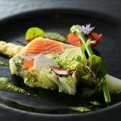 静岡の味わいを丸ごと満喫!『旬野菜と富士山サーモンのテリーヌ』