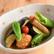 鶏から揚げと野菜の揚げびたし(ご飯・お味噌汁・小鉢付)