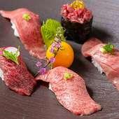 """""""肉づくし""""『黒豚・和牛肉寿司コース』"""