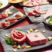 希少部位のステーキ使用『肉ケーキでお祝いコース』全12品7700円